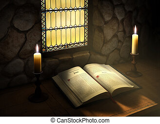 Open Bible in Sunlight - Open Bible flanked with two candles...