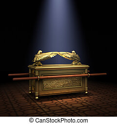 Ark of the Covenant inside the Holy of Holies illuminated...