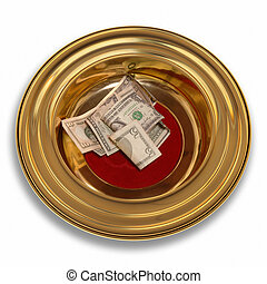 Offering Plate - Church offering plate with some currency in...