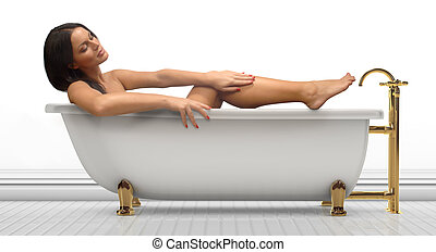 Bathing Beauty - Young woman in an antique bathtub on a...