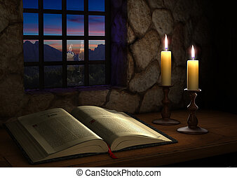 Bible Near a Window - Open Bible illuminated by two candles...