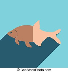 Flat icons with shadow of bream Vector illustration