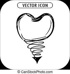 dental implant hand drawn icon, vector illustration