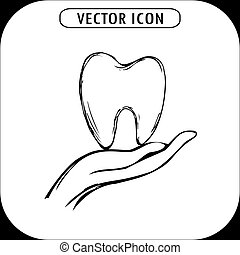 Tooth on hand, icon hand drawn, vector