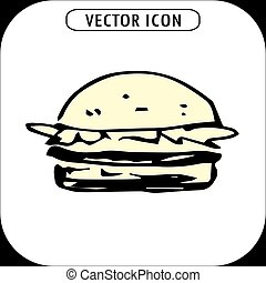 hamburger, hand drawn icon ,vector llustration