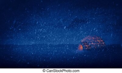 Igloo Lit Up On Stormy Night - Igloo lit up with fire at...