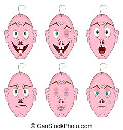 Same face with different emotions - emotional fanny man with...