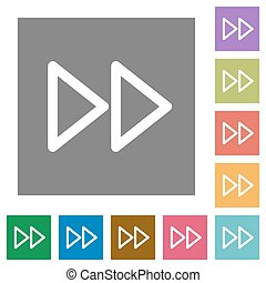 Media fast forward square flat icons - Media fast forward...