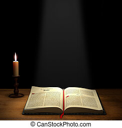 Open Bible on a table with a candle with copy space above