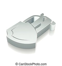 Insurance icon: 3d metallic Car And Shield with reflection, vector illustration.