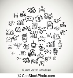 Black doodles Hand Drawn Business Icons set on White. EPS10 vector illustration.