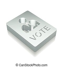 Politics icon: 3d metallic Ballot with reflection, vector...