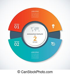 Vector circle template for infographics. Business concept with 2 options, steps, parts, segments