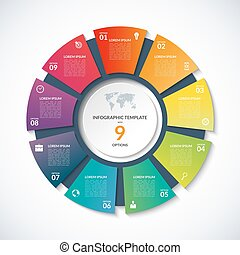 Vector circle template for infographics with 9 options,...