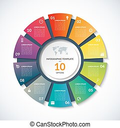 Vector circle template for infographics with 10 options,...