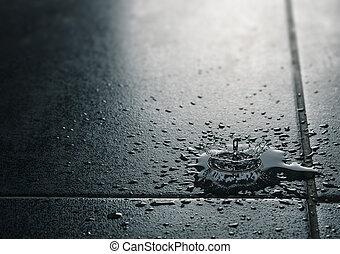 Water Leak, Waterproof Tile Flooring - Water drips falling...