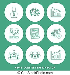 Set of news Green icons. EPS 10, vector illustration.
