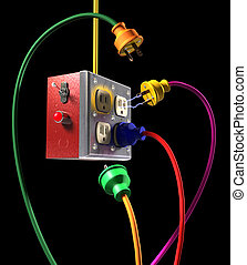 Plugged In on Black - Colorful electric plugs and socket box...