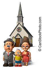 The Happy Family - A happy cartoon Family posing in front of...