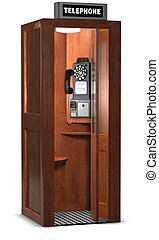Retro Phone Booth - Retro wooden phone booth isolated on...
