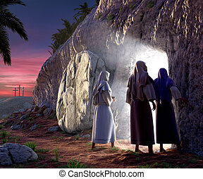 He is Risen - Mary Magdalene, Mary, Salom walking up to the...