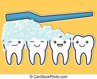 Happy cute teeth and toothbrush Tooth brushing process...