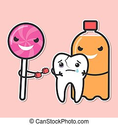 Soda and lollipop bully tooth. Sweets provoke dental caries...