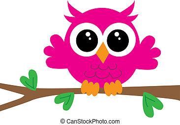 a sweet little pink owl
