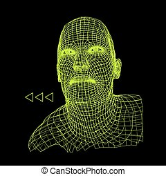 Head of the Person from a 3d Grid. Human Head Wire Model....