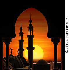 Minarets - Fireball sunset behind two minarets