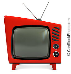 1950s TV Set - 1950s style retro plastic TV with a...