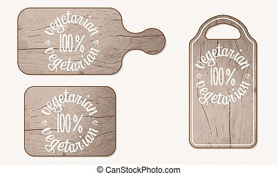 Wooden breadboard and inscription vegetarian product
