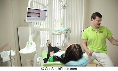 Dental service. Patient in stomatological room. Full HD