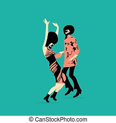 Dancing  funk couple. Party time. Vector illustration
