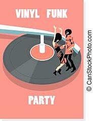 Funk vinyl poster. Party poster. Dancing funk people.