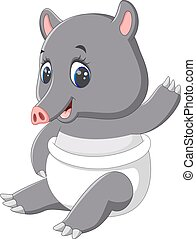 Cute tapir cartoon - illustration of Cute tapir cartoon