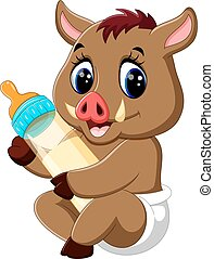 baby Wild boar cartoon - cute baby Wild boar cartoon