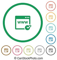Domain registration outlined flat icons - Set of domain...