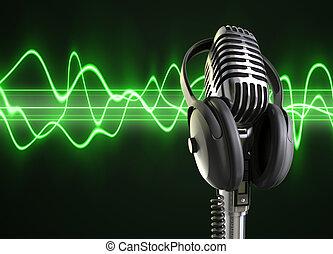 audio, ondas, y, micrófono