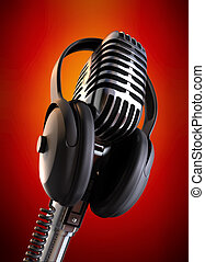 Flaming Hot Event - 50\'s microphone with headphones with a...