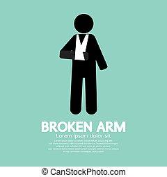 Broken Arm Graphic Symbol.