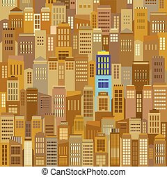 Cityscape With Outstanding Building Vector Illustration.
