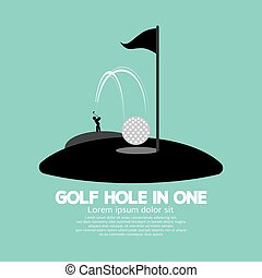 Golf Hole in One Sport Symbol.