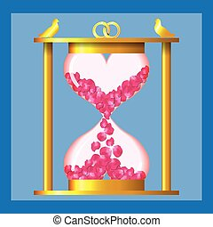 Hourglass of love - gold hourglass of two hearts