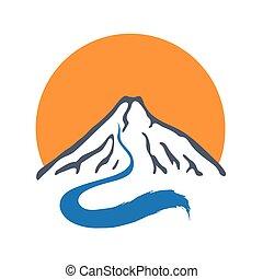 Mountain river and sun, vector logo illustration. - Mountain...