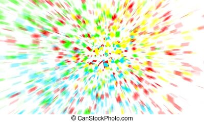 colorful confetti on white background.