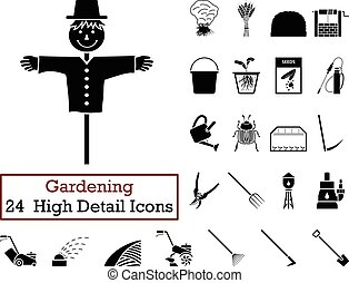 Set of 24 Gardening Icons in Black Color.Vector...