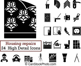 Set of 24 Housing repairs Icons in Black ColorVector...