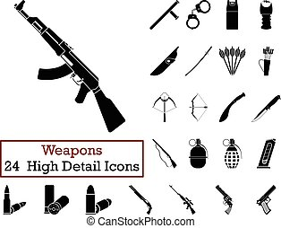 Set of 24 Weapon Icons in Black ColorVector illustration