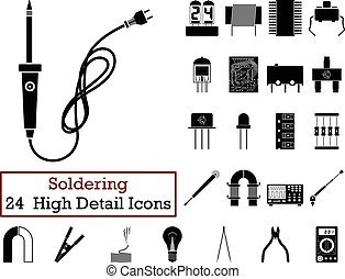 Set of 24 Soldering Icons in Black Color.Vector...